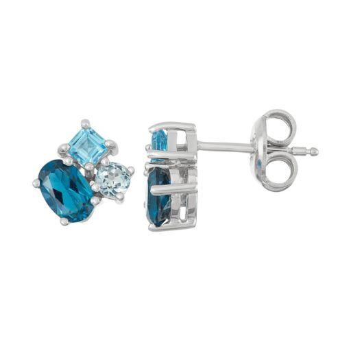 Sterling Silver London, Swiss & Sky Blue Topaz Stud Earrings
