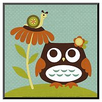 Art.com Owl Looking at Snail Wood Wall Art