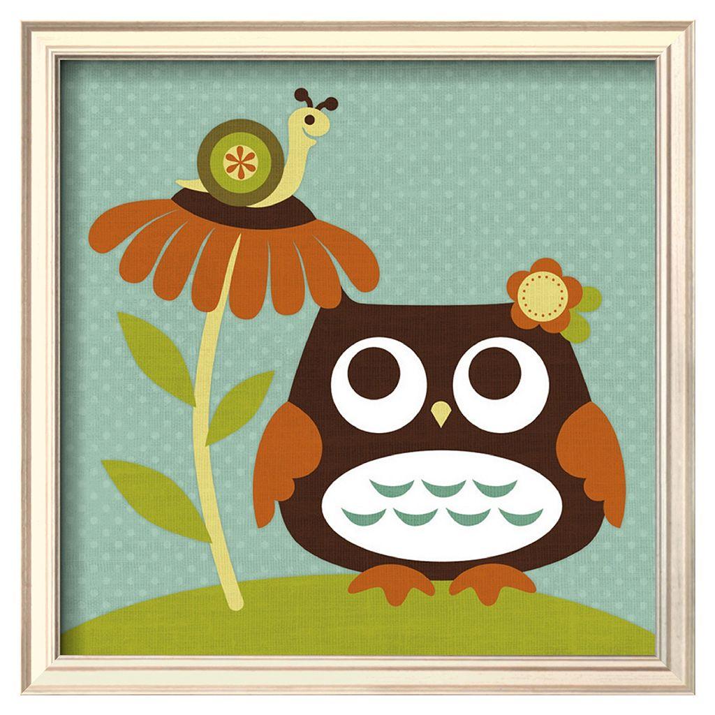 Art.com Owl Looking at Snail Framed Wall Art