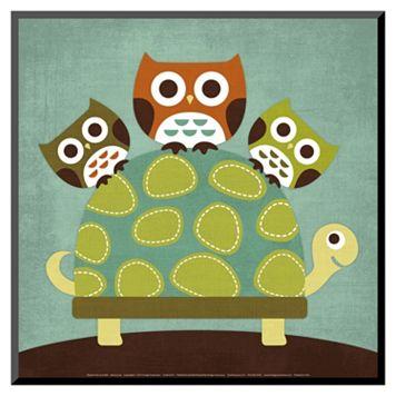 Art.com Three Owls on Turtle Wood Wall Art