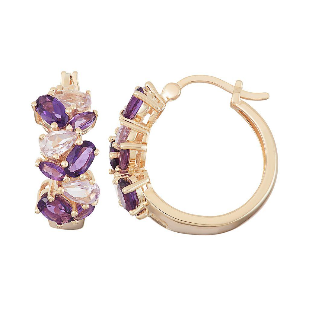18k Gold Over Silver Amethyst & Rose de France Amethyst Cluster Hoop Earrings