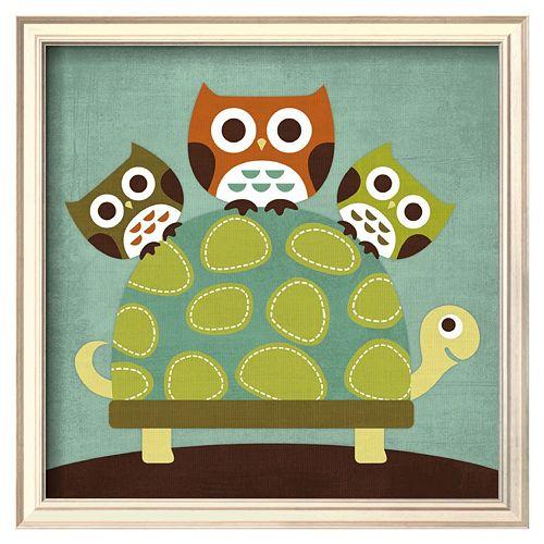 Art.com Three Owls on Turtle Framed Wall Art