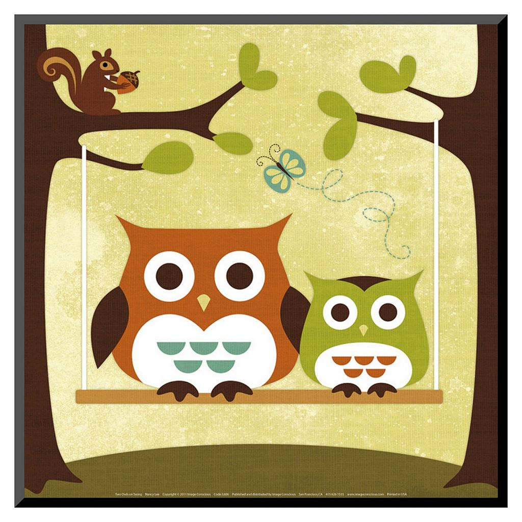 Art.com Two Owls on Swing Wood Wall Art