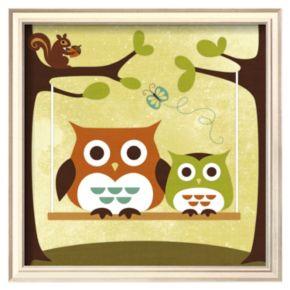 Art.com Two Owls on Swing Framed Wall Art