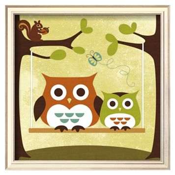 Art.com Two Owls on Swing Framed Wall Art