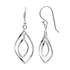 PRIMROSE Sterling Silver Twist Marquise Drop Earrings