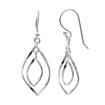 PRIMROSE Sterling Silver Twist Marquise Drop Earrings