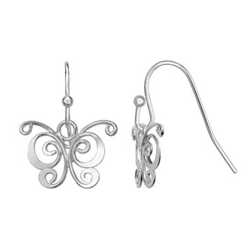 PRIMROSE Sterling Silver Butterfly Drop Earrings