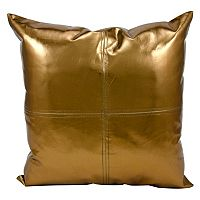 Michael Amini Metallic Faux Leather Throw Pillow