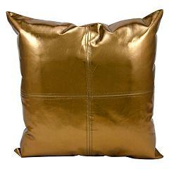 Michael Amini Metallic Faux Leather Throw Pillow
