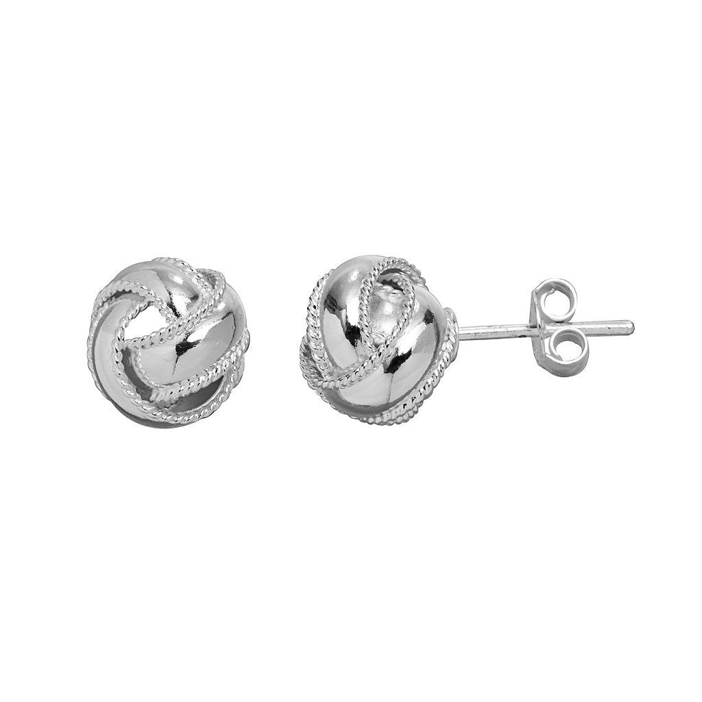 PRIMROSE Sterling Silver Textured Love Knot Stud Earrings