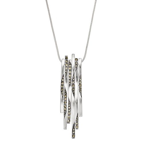 Silver Plated Marcasite Stick Pendant Necklace