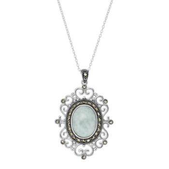 Silver Plated Jade & Marcasite Oval Filigree Pendant Necklace