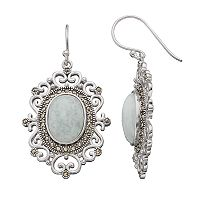 Silver Plated Jade & Marcasite Oval Filigree Drop Earrings
