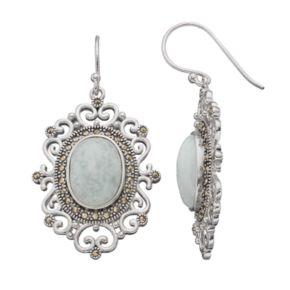 Silver Plated Jade & Marcasite Oval Filigree Drop Earrings