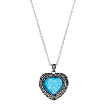 Silver Plated Simulated Opal & Marcasite Heart Pendant Necklace