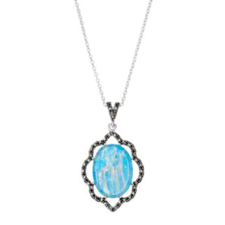 Silver Plated Simulated Opal & Marcasite Oval Pendant Necklace