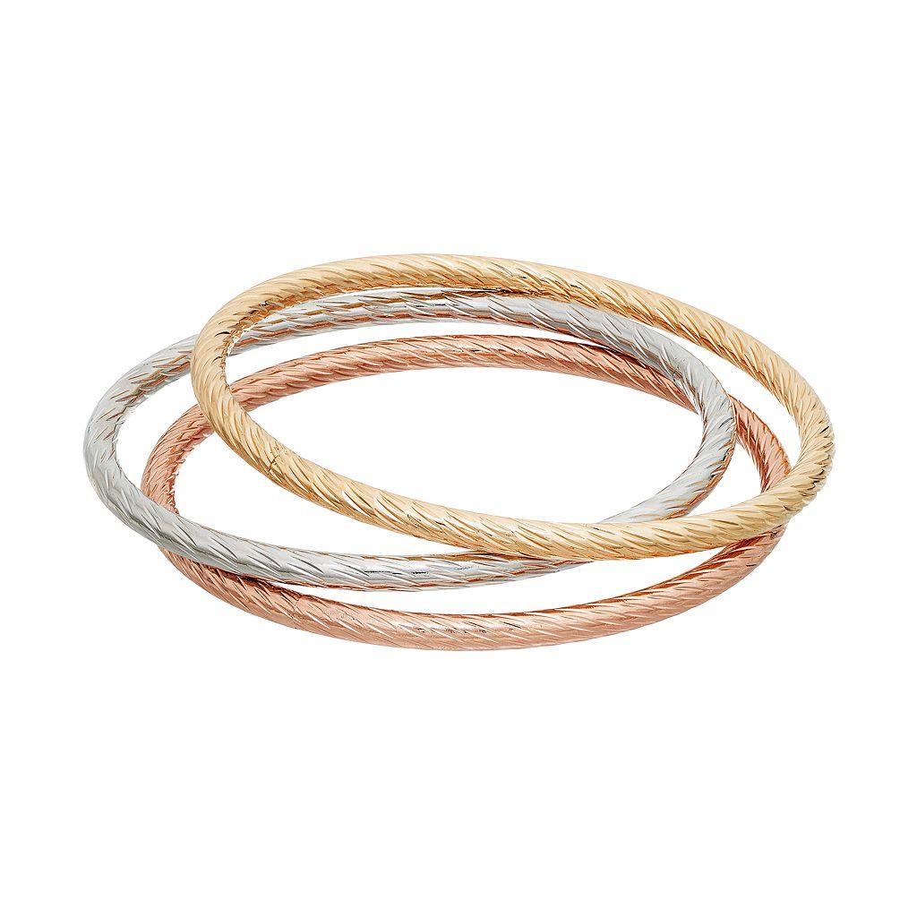 Jennifer Lopez Tri Tone Textured Bangle Bracelet Set