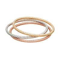 Jennifer Lopez Tri Tone Textured Bangle Bracelet Set