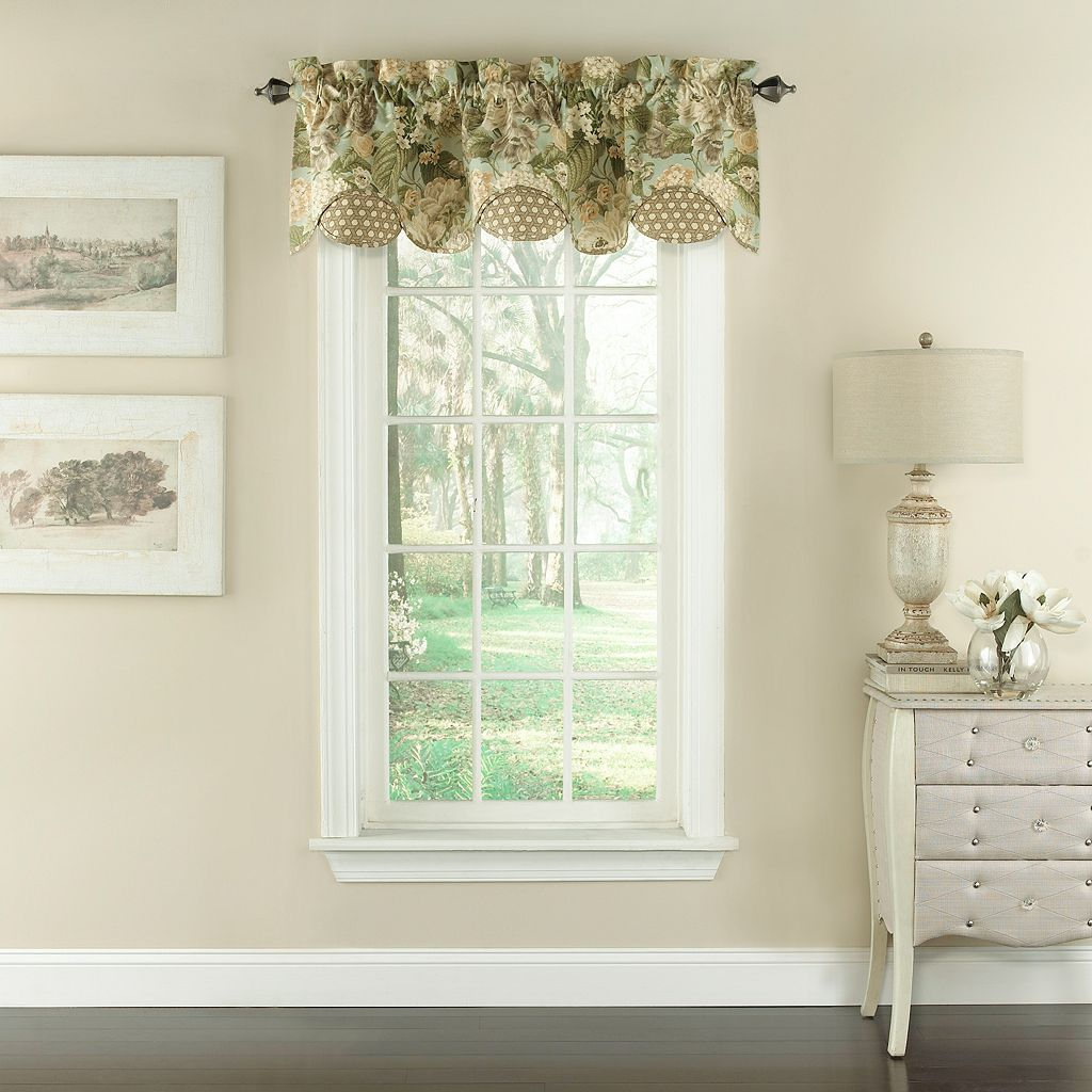 Waverly Garden Glory Scalloped Floral Valance - 60'' x 16''