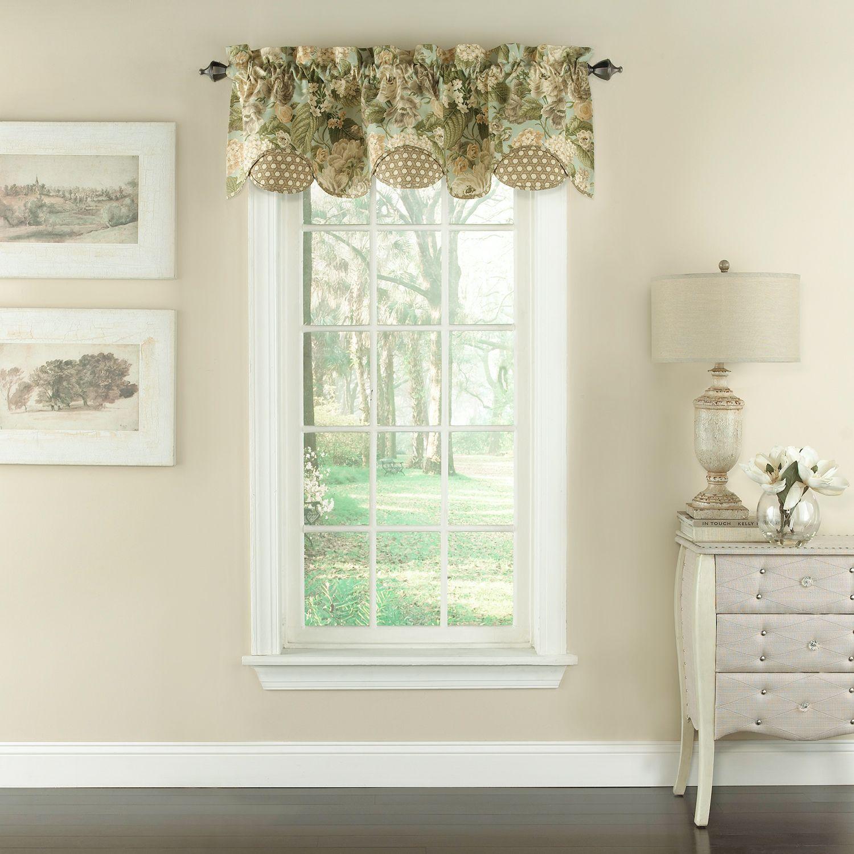 Waverly Garden Glory Scalloped Floral Window Valance   60u0027u0027 X 16u0027u0027
