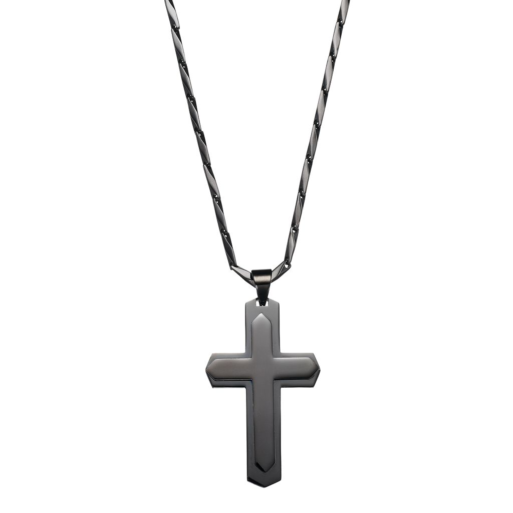 Men's Stainless Steel Tiered Cross Pendant Necklace