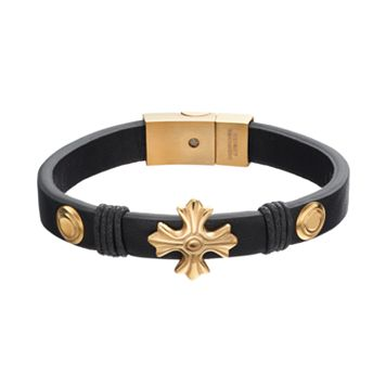 Men's Stainless Steel Leather Cross Bracelet