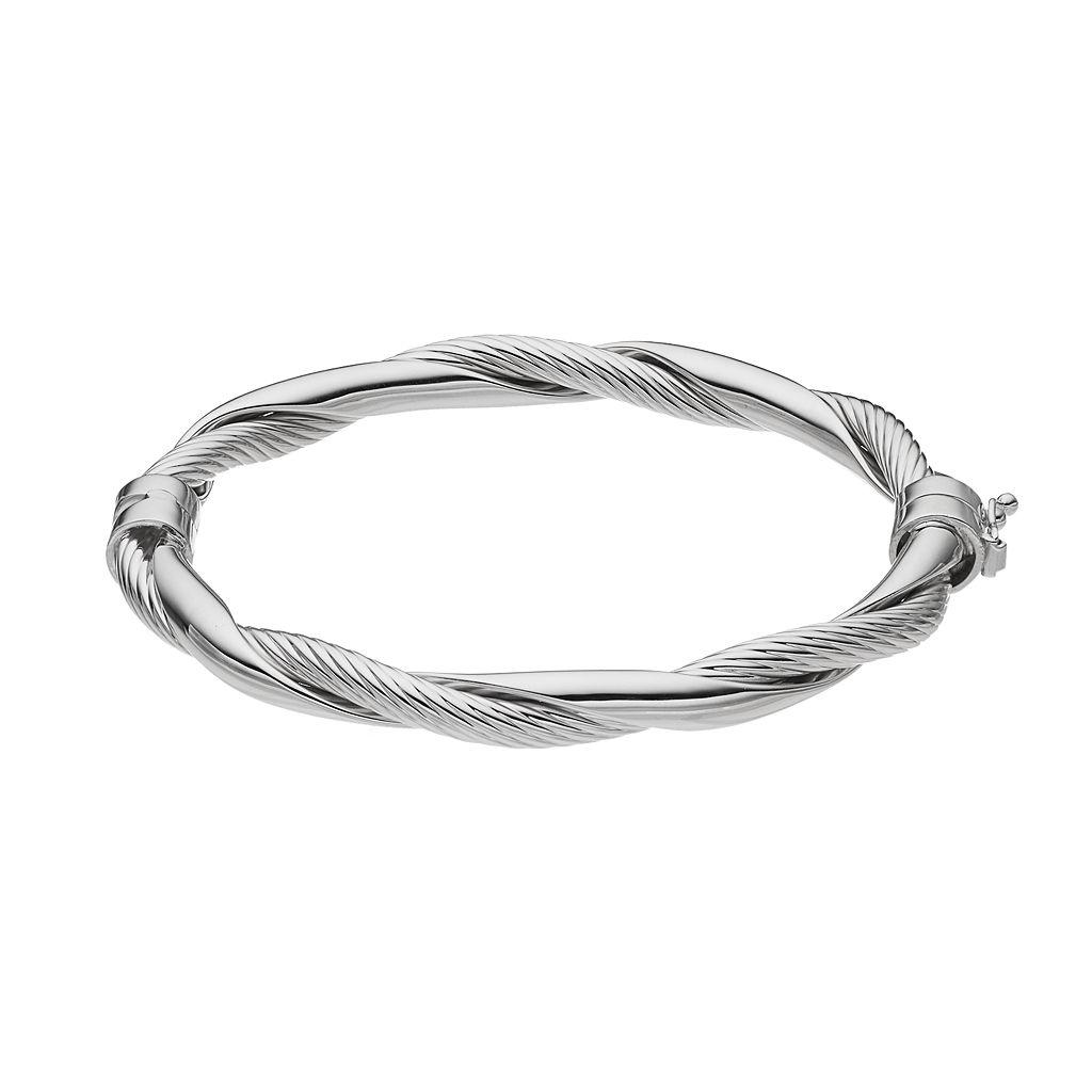 Sterling Silver Polished Twist Bangle Bracelet