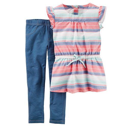 Girls 4-8 Carter's Striped Tunic & Leggings Set