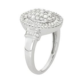 10k White Gold 1 Carat T.W. Diamond Oval Halo Ring