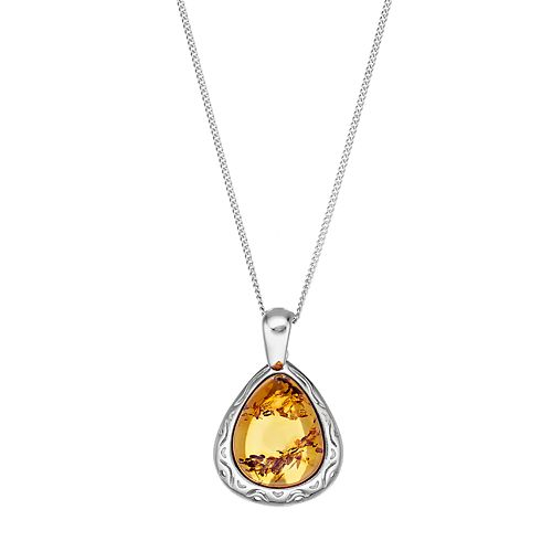 Sterling Silver Amber Teardrop Pendant Necklace