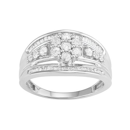 10k White Gold 1 Carat T.W. Diamond Flower Ring