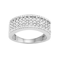10k White Gold 1 Carat T.W. Diamond Multirow Ring