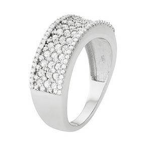 10k White Gold 1 Carat T.W. Diamond Multirow Ring