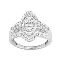 10k White Gold 1 Carat T.W. Diamond Marquise Halo Ring
