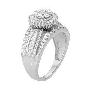 10k White Gold 1 Carat T.W. Diamond Flower Halo Ring