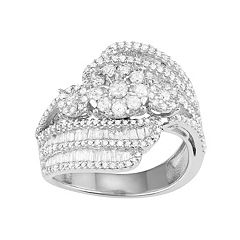 10k White Gold 1 1/2 Carat T.W. Diamond Flower Swirl Ring