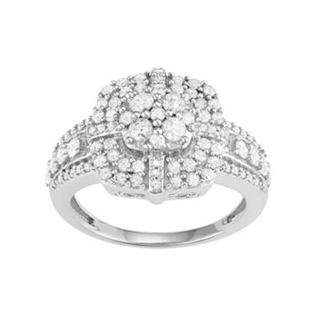 10k White Gold 1 Carat T.W. Diamond Flower Halo Ring
