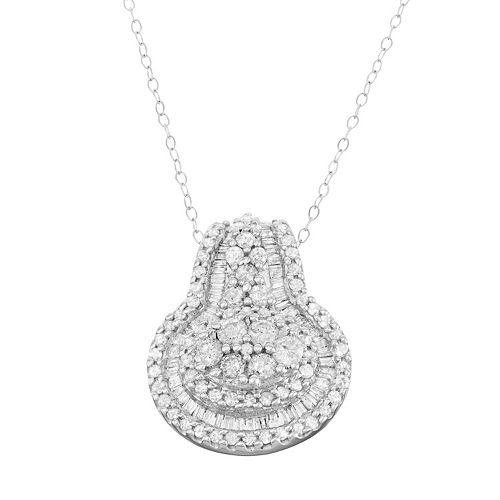 10k White Gold 1 Carat T.W. Diamond Halo Pendant Necklace