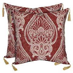 Bombay® Outdoors Delhi Paisley Tassels Reversible Throw Pillow 2-piece Set