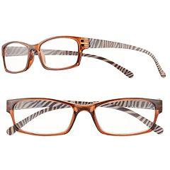 Women's Sydney Love Zebra Rectangle Reading Glasses