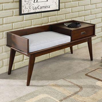 Simpli Home Draper Mid-Century Storage Bench