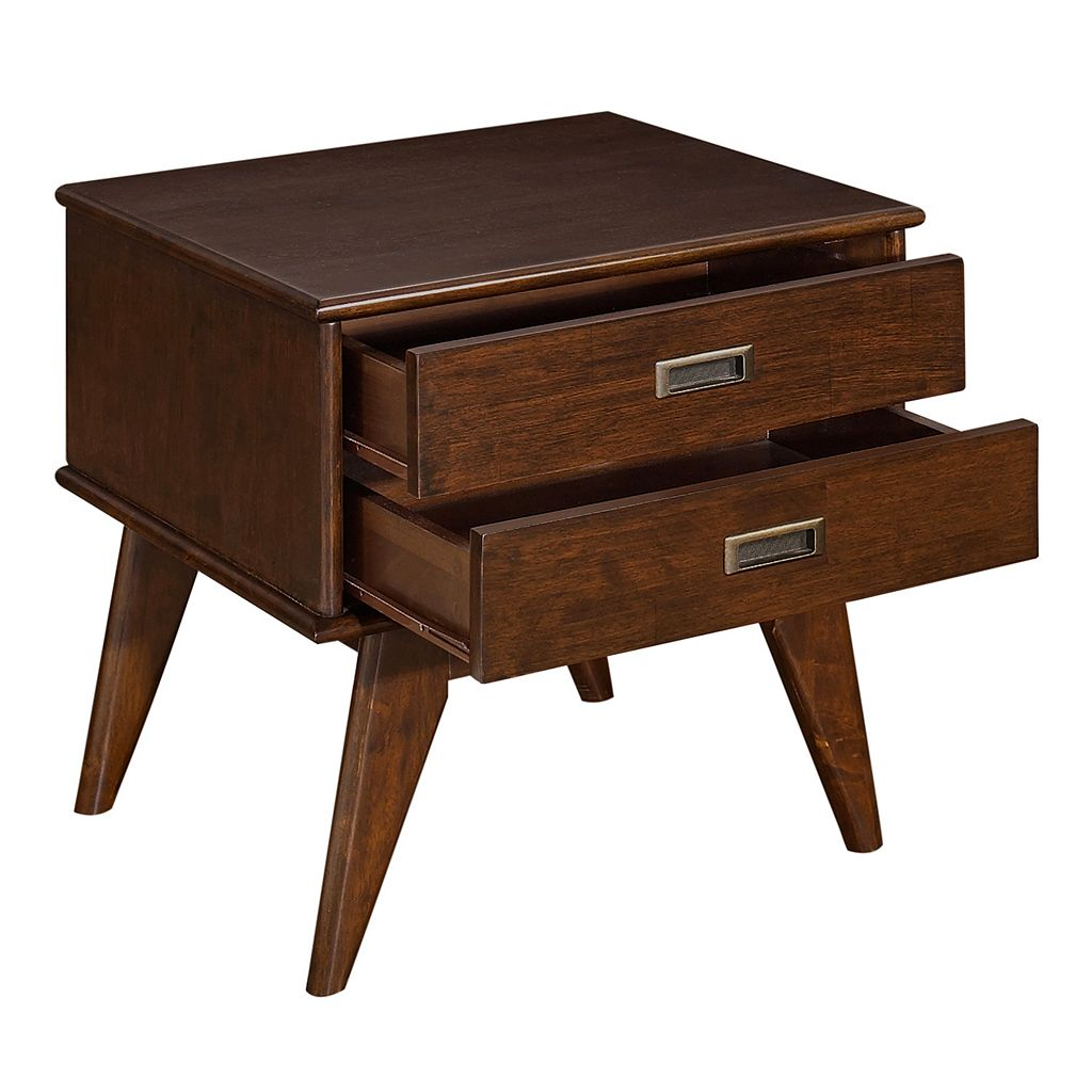 Simpli Home Draper 2-Drawer Mid-Century End Table