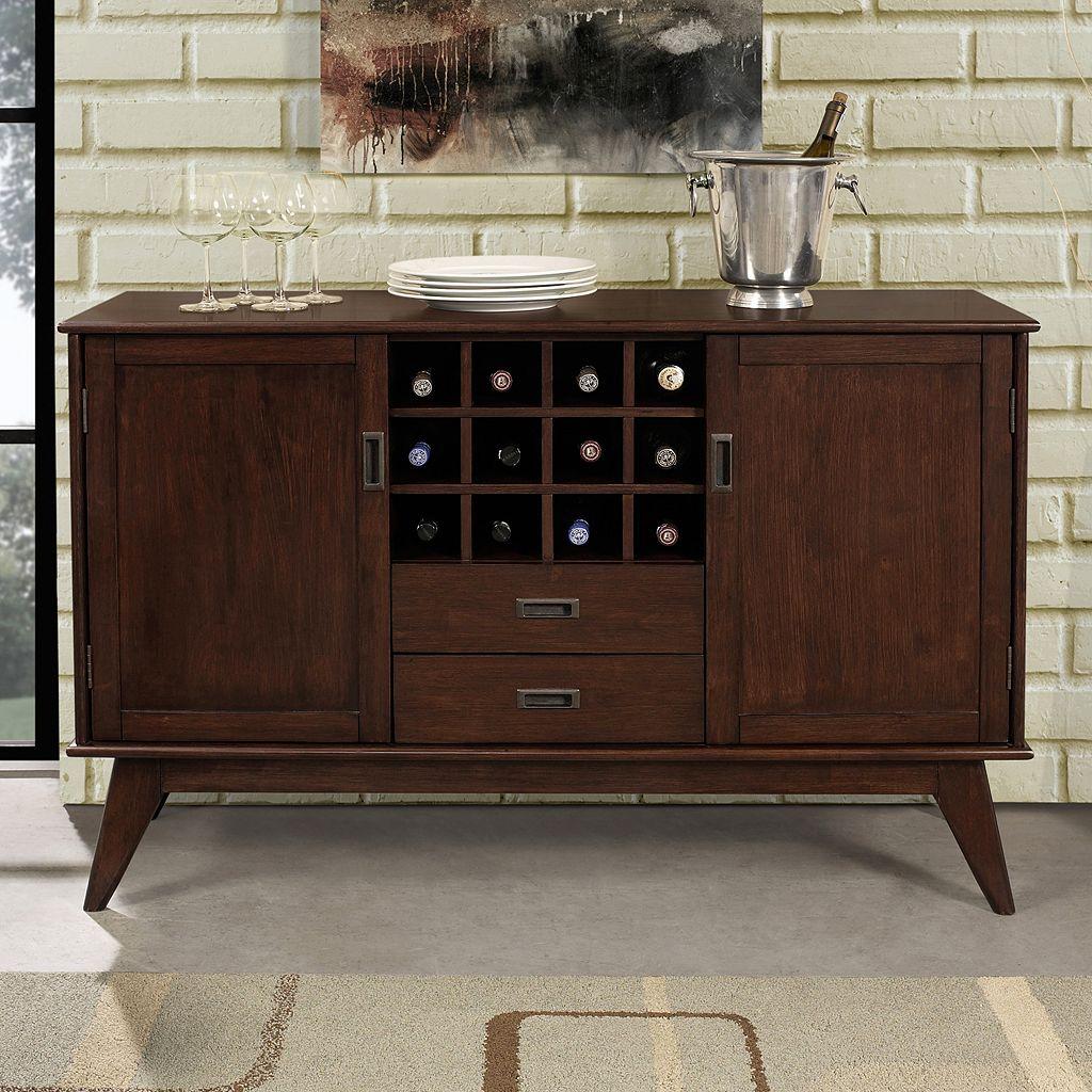 Simpli Home Draper Mid Century Sideboard Buffet Table & Wine Rack
