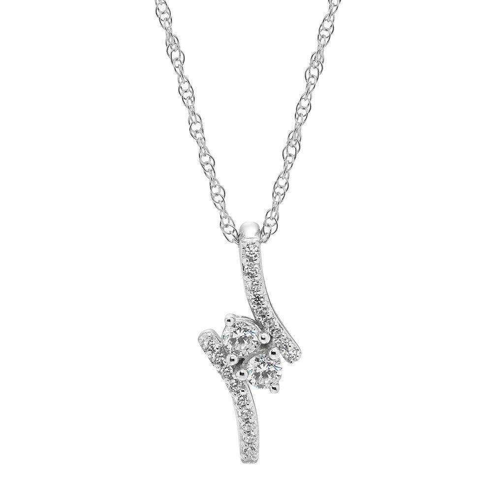 10k White Gold 1/4 Carat T.W. Diamond 2-Stone Pendant Necklace