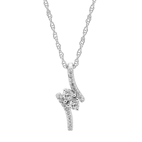 10k White Gold 1/4 Carat T.W. Diamond 2-Stone Pendant Necklace
