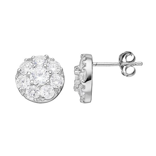 PRIMROSE Sterling Silver Cubic Zirconia Cluster Stud Earrings