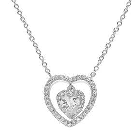 PRIMROSE Cubic Zirconia Sterling Silver Heart Halo Pendant Necklace