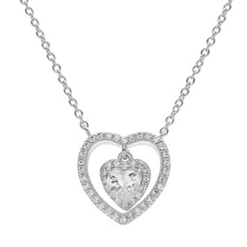 PRIMROSE Cubic Zirconia Sterling Silver Heart Halo Pendant Necklace