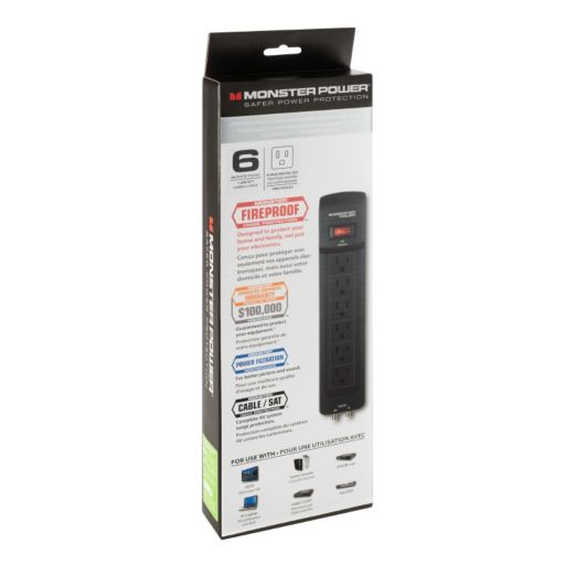 Monster Core Power 6-Outlet Surge Protector with AV Protection